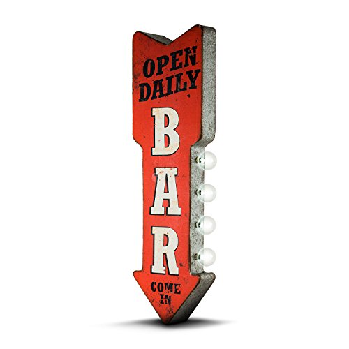 American Art Decor Open Daily Bar Metal Arrow Vintage Double Sided Marquee LED Sign for Man Cave Bar Garage