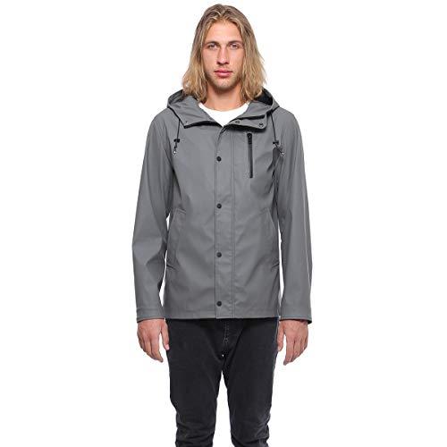 Rokka&Rolla Men's Lightweight Waterproof Hooded Rubberized Rain Jacket Windbreaker Raincoat Parka Anorak