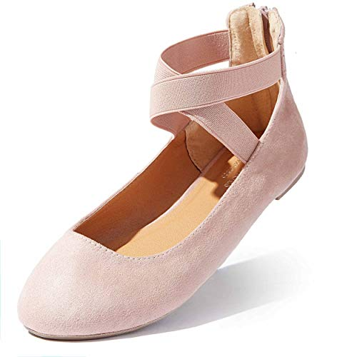 DailyShoes Women's Classic Flat Shoes Ballet Ankle Strap Elastic Comfort Slip On Dress Shoe Party Wedding Working Flats Round Toe Slip-on Mauve,sv,12