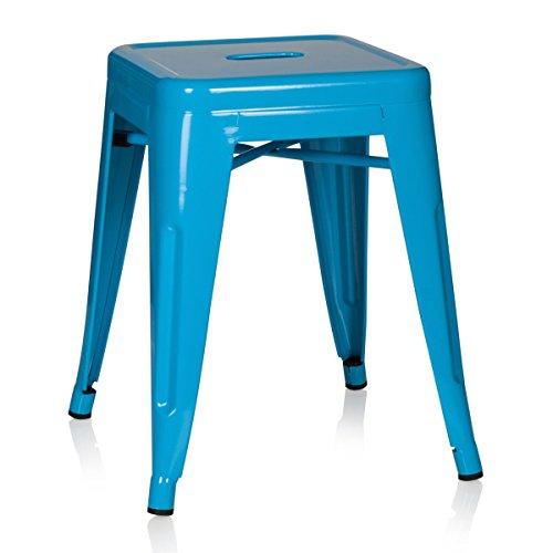 hjh OFFICE 645004 taburete VANTAGGIO metalico azul claro, apilable, acero estable, industrial style