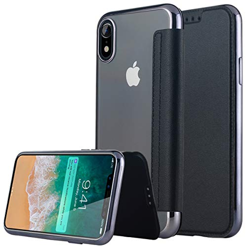 Casetego Compatible iPhone XR Case,Slim PU Leather Folio Flip Wallet Case Card Slot & Clear Soft TPU Back Cover for Apple iPhone XR 6.1 inch,Black