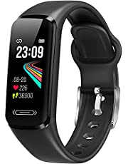 Fitness Tracker, Smart Watch Heart Rate Sleep & Blood Pressure & Temperature Monitor for Men Women, Fitness Watch IP68 Waterproof Pedometer Messages Remind Activity Tracker for Android iOS (Black)