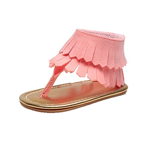huateng Baby Sandalen Mädchen Sandalen Kleinkind Schuhe Sandalen Mode Retro Quaste Sandalen Rosa