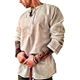 Men's Scottish Shirt Cotton and Linen Solid Color Long Sleeve Lace Up Retro Medieval Renaissance Pirate Costume Khaki