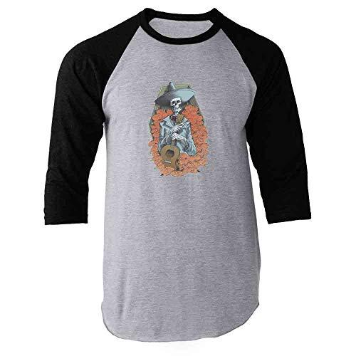 Pop Threads Mariachi Skeleton Halloween Costume Horror Black L Raglan Baseball Tee Shirt]()