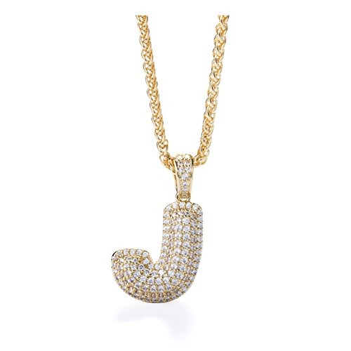 Meow Star Initial Letter Necklace for Woman Man Micropave Simulated Diamond Bubble Letters Pendant Necklace (J)]()