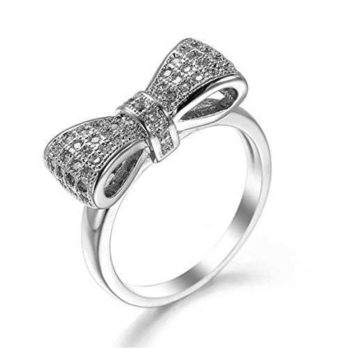 TMROW Bow Anniversary Promise Wedding Cubic Zirconia Engagement Rings for Women