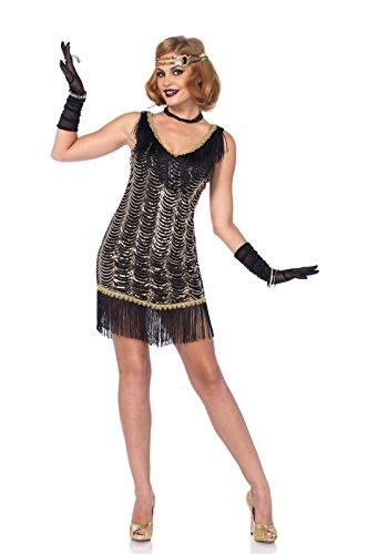 Leg Avenue Women's Charleston Flapper Dress 20s Costume, Black/Gold, Large