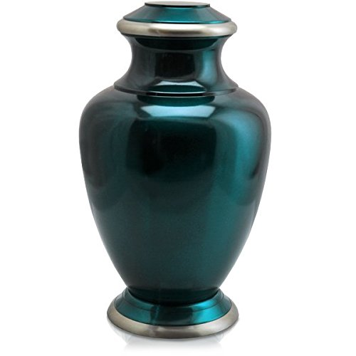Memorial Gallery 1435A Shiny Cremation Pet Urn, Turquoise Blue