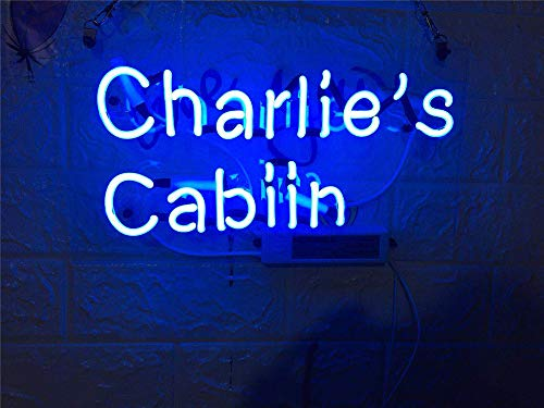 Neon Qiong Neon Sign Factory 14X9 Inches Real Glass Neon Sign Light for Beer Bar Pub Garage Room Charlie's Cabin.