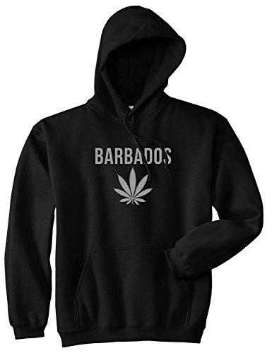 Country of Barbados Weed Leaf Pot Marijuana Pullover Hoodie Hoody Medium Black