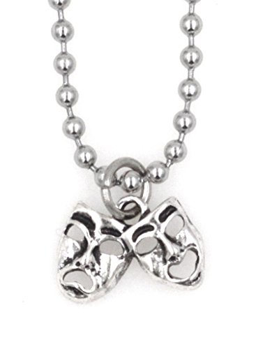"""21.6"""" 2.4mm Stainless Steel Ball Chain with Clasp Necklace Comedy & Tragedy (LC 7Q)"""
