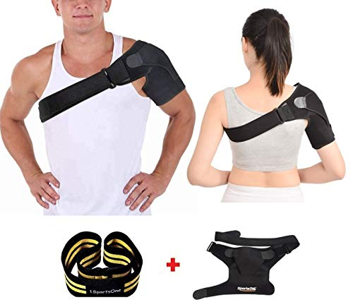 1SportsONE Shoulder Brace Men and Women Rotator Cuff Brace Sleeve with Pressure Pads Labrum Tear Bursitis Dislocated AC Joint Frozen Pain Injury Prevention Immobilizer Compression for Recovery - Pad Groin Female