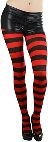 ToBeInStyle Women's Full Footed Wide Striped Tights (Plus Size, Black And Red)]()