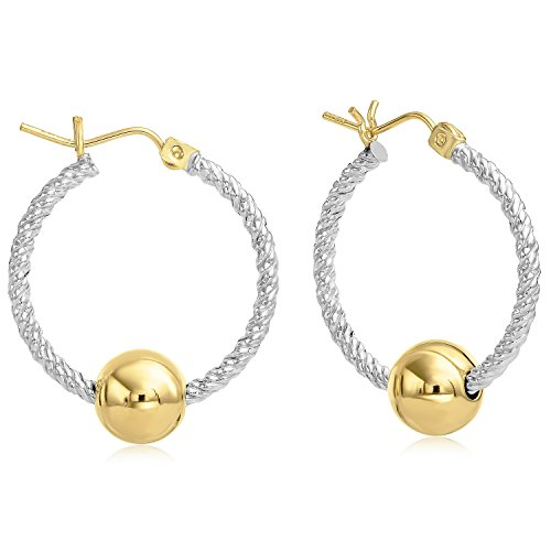 Premium Ocean Side Jewelry 14K Gold and Twisted Sterling Silver Earrings, Gold Post and Hinge - Large ()