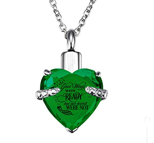 PREKIAR Heart Cremation Urn Necklace for Ashes Urn Jewelry Memorial Pendant with Fill Kit and Gift Box - Always on My Mind Forever in My Heart (Your Wings were Ready-Dark Green)