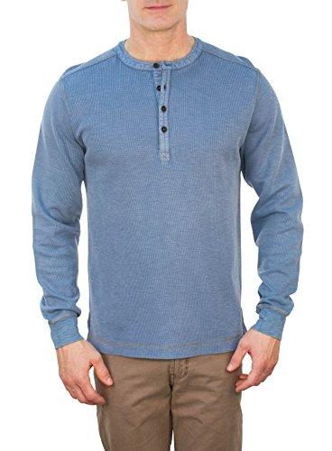 Thaddeus Mens HANLON Long Sleeve Reinforced Elbow French Terry Henley Shirt Sleet Blue Size XL - Men Elbow Patch Shirt