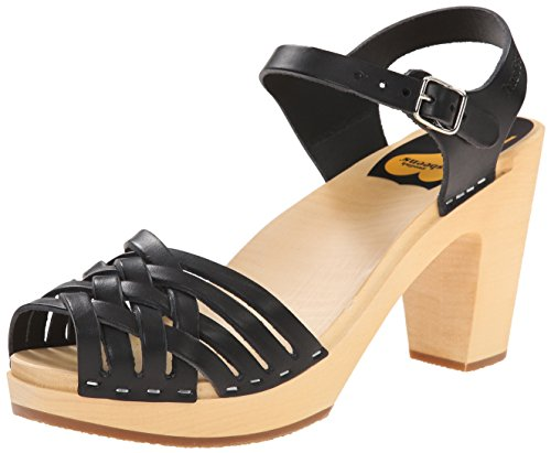 Swedish Hasbeens  Braided Sky High,  Damen Sandalen Black (Black / Nature Sole)