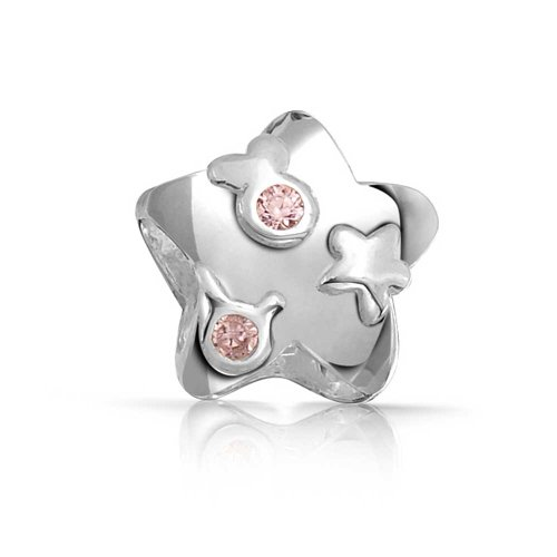 Star On Star Shape Pink Cubic Zirconia Bead CZ Charm 925 Sterling Silver For European Bracelet For Women (Sterling Silver Star Shape)