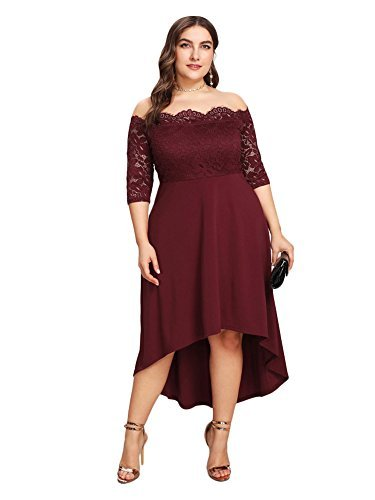 GMHO Women's Lace Plus Size 3/4 Sleeves Midi Business Cocktail Short Formal Dress (Red, 14W)