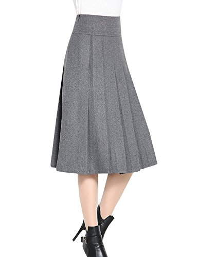 Tanming Women's A-Line Pleated Wool Blend Long Midi Skirt (Medium, Grey)