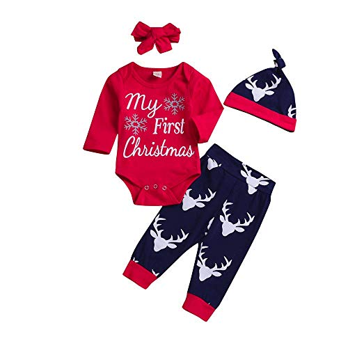 FEITONG 4PCS Christmas Newborn Baby Boy Letter Top Deer Cartoon Print Pants Clothes Sets ()