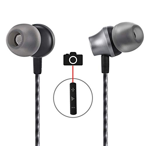 in Ear Earbuds,Aictoe Wired Earphones with Selfie,Super Stereo Bass Headphones Noise Isolating Headsets with Built-in Mic and Volume Control Universal for 3.5mm Android iOS(Black)