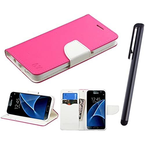 Samsung Galaxy S7 G930 Case, Fincibo (TM) MyJacket Wallet With Card Slot Pouch Protector Cover, Hot Pink Pattern/ White + Stylus Pen Sales