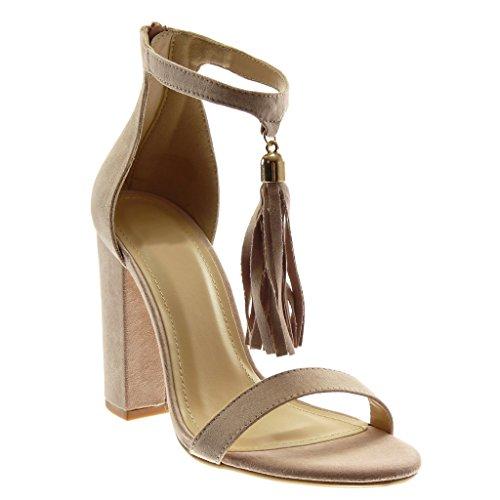 Angkorly Women's Fashion Shoes Sandals Pump Court Shoes - Ankle Strap - Pom Pom - Fringe - Thong Block High Heel 10.5 cm Light Pink dHbRZn4