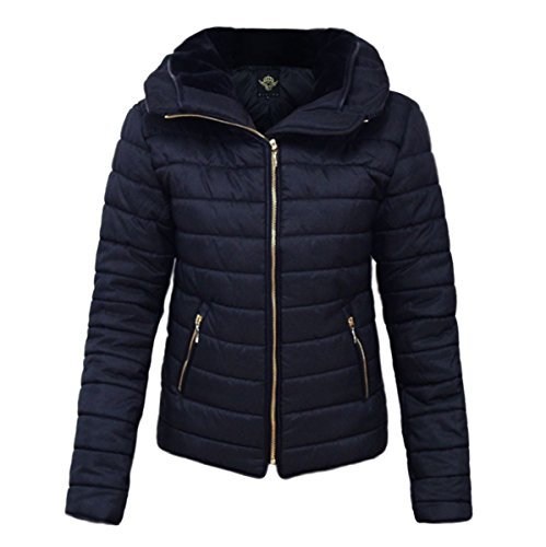 Womens Quilted Padded Jacket Hooded Gold Zip Puffer Bubble Fur Collar Warm Thick Jacket Coat_363_RISING_Navy_L