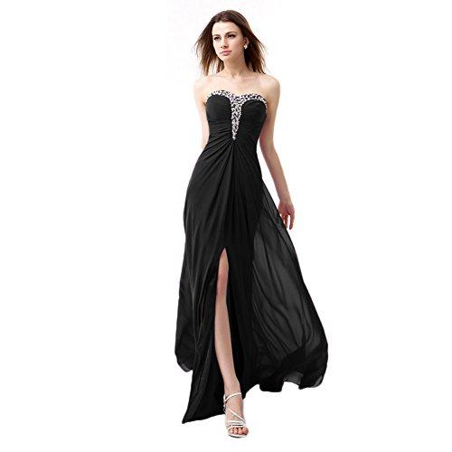 Black Chiffon Sweetheart Beading (BessWedding Sweetheart Black Beading Chiffon Prom Dresses Long Evening Gowns, 16)