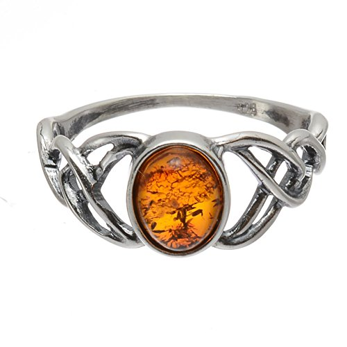 HolidayGiftShops Sterling Silver and Baltic Honey Amber Celtic Knots Ring