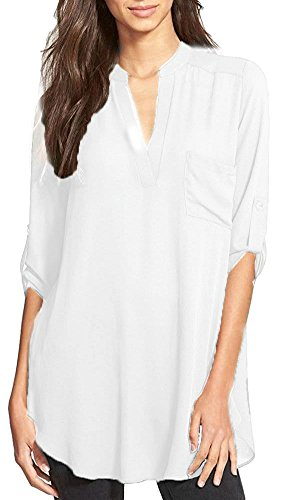 White Tunic Shirt - OURS Blouse Shirts For Women Casual V Neck Roll Up Sleeve Chiffon Tunic Top White, Medium