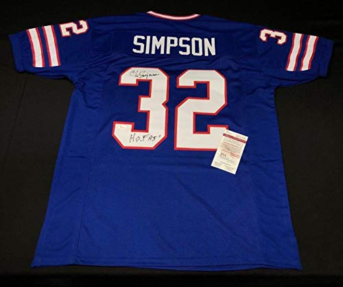 O.J. OJ Simpson Signed Buffalo Bills Football Jersey
