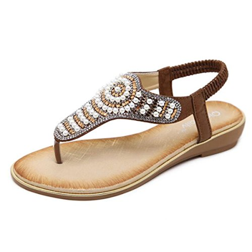 - Women T- Strap Thong Flat Sandals Summer Beach Crystal Flip Flops Shoes (US8.5, Brown)