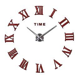 Home Decor Large Roman Mirror Fashion Modern Clocks Living Room Wall Clock Sticker Watch,Red,47inch