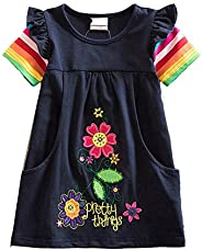 DXTON Toddler Summer Casual Cotton Flower Short Sleeve Girl Dresses