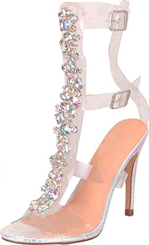 (Cambridge Select Women's Clear See-Through Crystal Rhinestone Stiletto High Heel Gladiator Sandal,7.5 B(M))