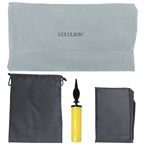 LULULION Inflatable Foot Rest for Travel Home Leg Rest Travel Pillow with Adjustable Height Kids Travel Bed – Air Pump and Carrying Bag Included, Gray by iBaseToy (Image #5)