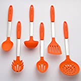 Culinary Couture Stainless Steel and Silicone Cooking Utensil Set with Ebook - Orange