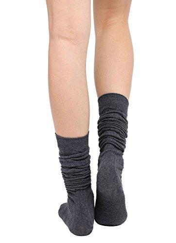 Womens Winter Kabel stricken über Knee High Tigh hohe Socken 1-3 Paar Einzelnes Dunkelgrau