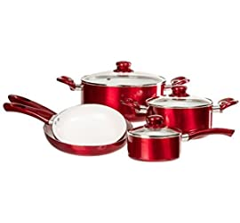 12 Pc Ceramic Coated Cookware Set - Healthy Set of Pots and Pans w/ Glass Lids & Cooking Utensils (Red) by Imperial Home