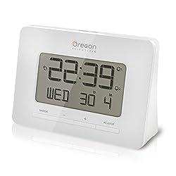 Oregon Scientific RM938 White Alarm Atomic Clock for Office Home College Dorm Desk