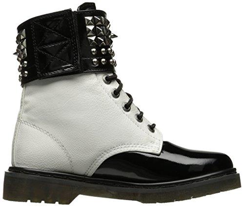 Demonia RIVAL-106 Wht Vegan Leather-Blk Pat