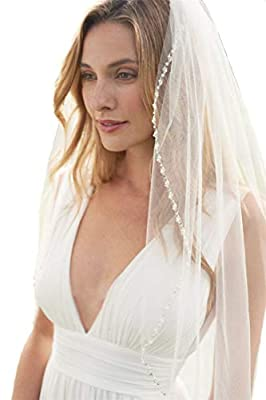 Passat Mid-Length Veil with Encrusted Filigree Beads Sequin Wedding Veils H93-1