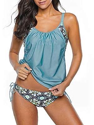 Century Star Women's Two Piece Tankini Swimsuit Floral Tank Top Bikinis Padded Swimwear With Boyshorts Blue Green Large (fits like US 8-10)