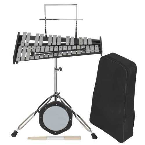 Best Choice Products 30-Note Percussion Glockenspiel Bell Kit w/Practice Pad, Mallets, Sticks, Stand - Black ()
