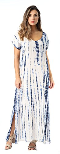 Riviera Sun Casual Short Sleeve Maxi Dress with Side Slit 21771-NVY-3X Navy/White