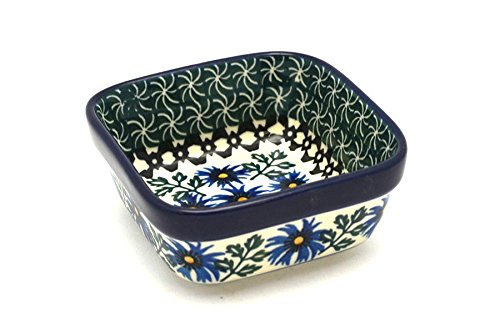 Polish Pottery Ramekin - Square - Blue Chicory by Polish Pottery Gallery
