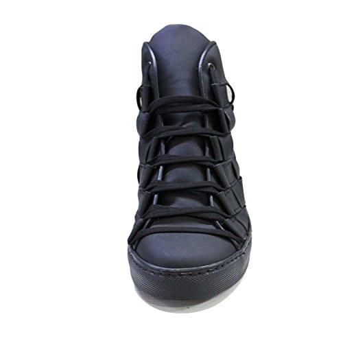 Sneakers alta vera pelle gommato nero matto moda glamour intreccio a mano fondo antiscivolo